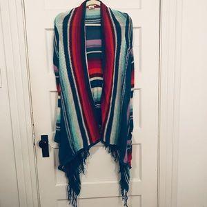 Billabong Fringe Blue Long Sleeve sweater Wrap